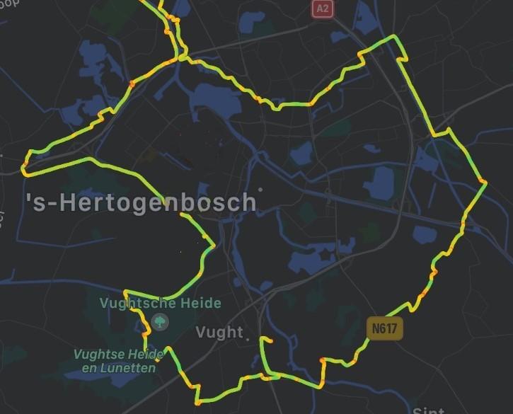 Fietsroute linie 1629 den Bosch kaart